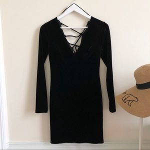 Topshop black velvet deep v front back dress
